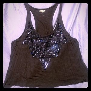 Crop top with sequins gray, by Hollister size Md.